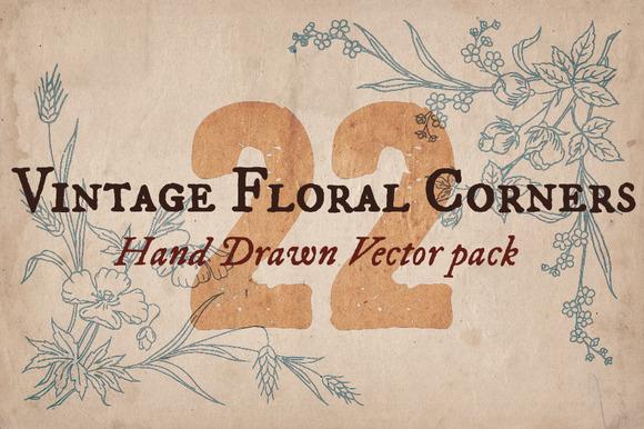22 Vintage Floral Corners