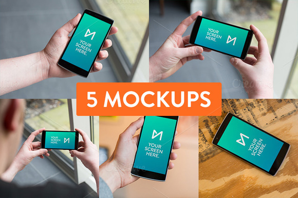 5x OnePlus One Mockup Psd S