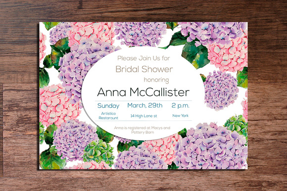 Printable Hydrangeas Invitation 5x7