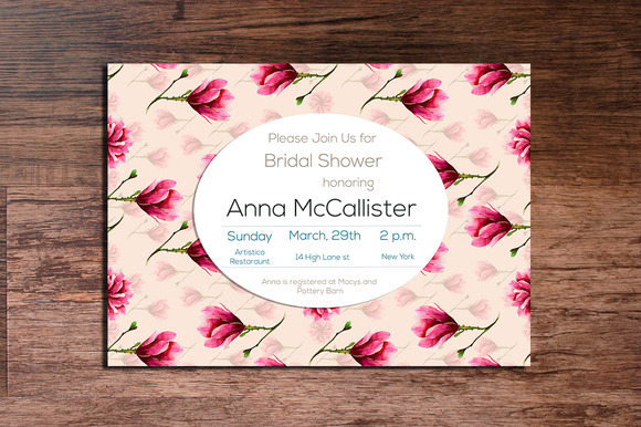 Printable Magnolia Invitation 5x7
