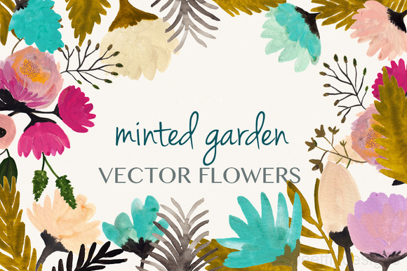 Minted Vector Flower Set