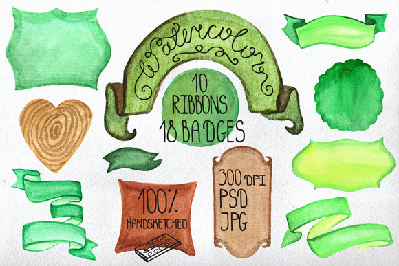 Watercolor Badges Ribbons Set 1