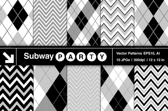 Vector Argyle Chevron Patterns
