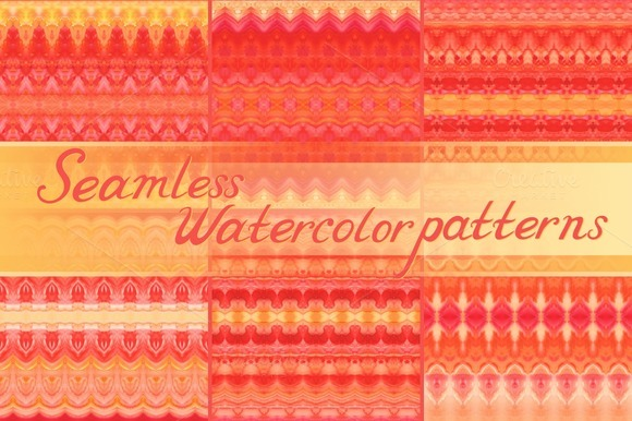 24 Seamless Watercolor Patterns