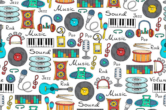 Pattern With Cartoon Music Symbols