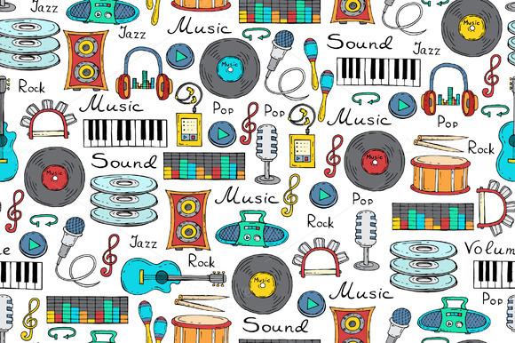 Pattern With Cartoon Music Symbols