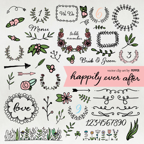 Vector Wedding Doodle Clip Art