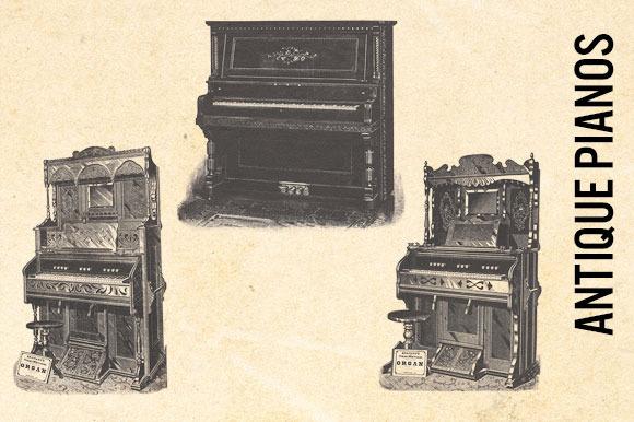 Antique Pianos Vintage Clip Art