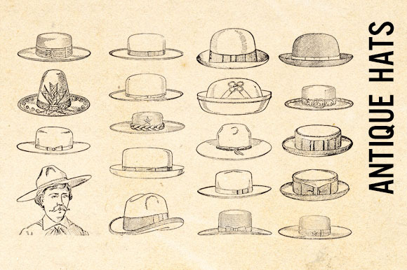 Vintage Retro Hats Clip Art