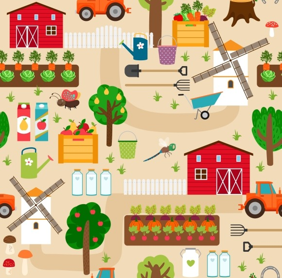 Farm Animals And Seamless Patterns