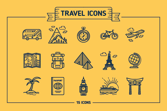 Travel Outline Colored Icons