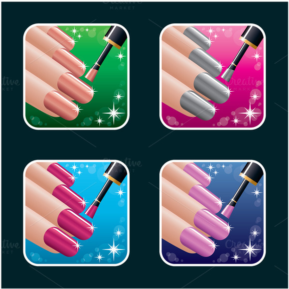 Set Of Icons Of Women S Manicure