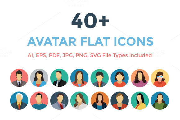 40 Avatars Flat Icons
