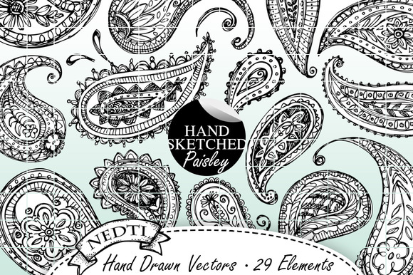 Paisley Hand Drawn Doodle Vector