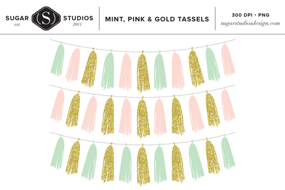 Mint Pink Gold Tassels