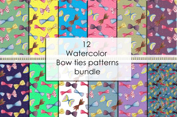 12 Bow Ties Patterns Bundle