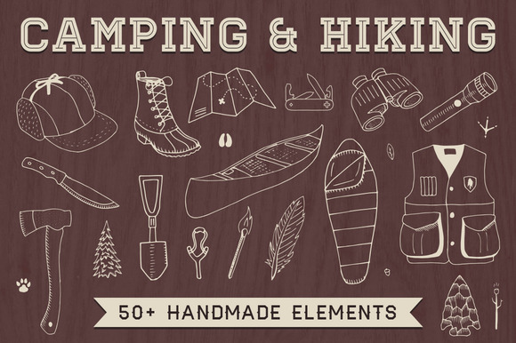 Hand-Drawn Camping Hiking Elements