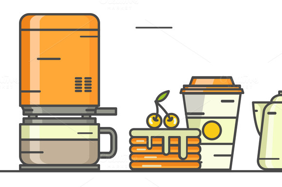 Vector Linear Coffee Icons