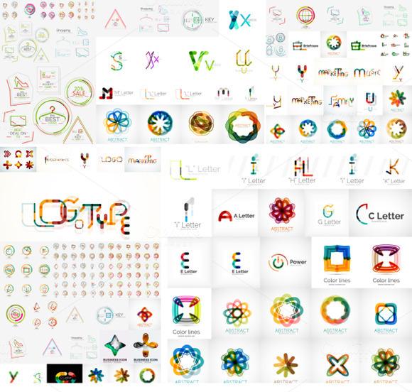 Set Of Futuristic Vector Logos