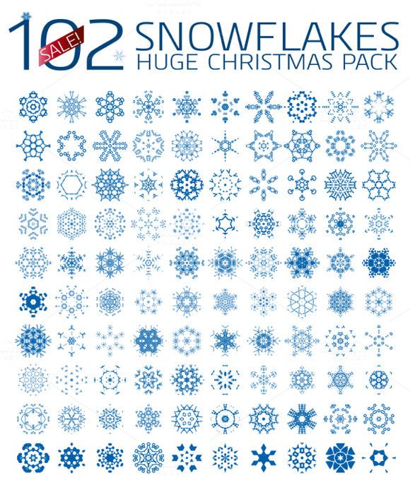 102 Abstract Christmas Snowflakes