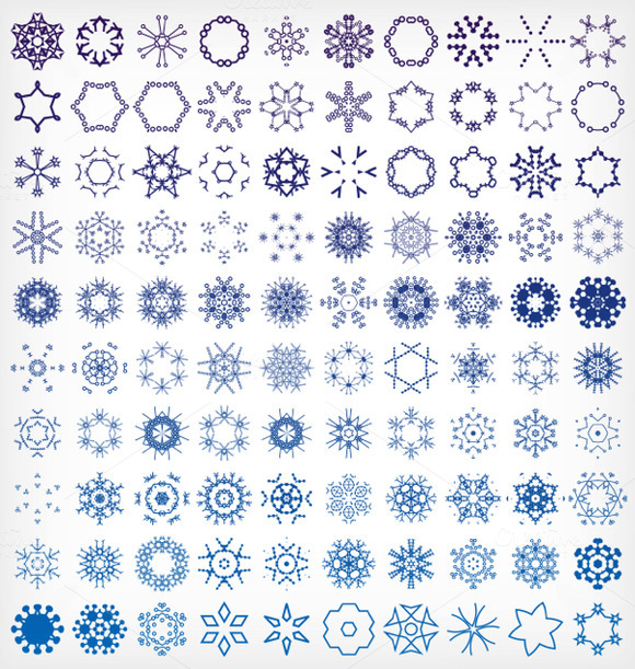 Set Of Winter Snowflake Icons