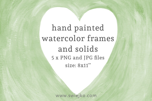 Watercolor Frames And Solids Green