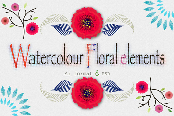 Watercolor Floral Elements More