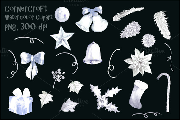 Christmas Decorations Silver Clipart