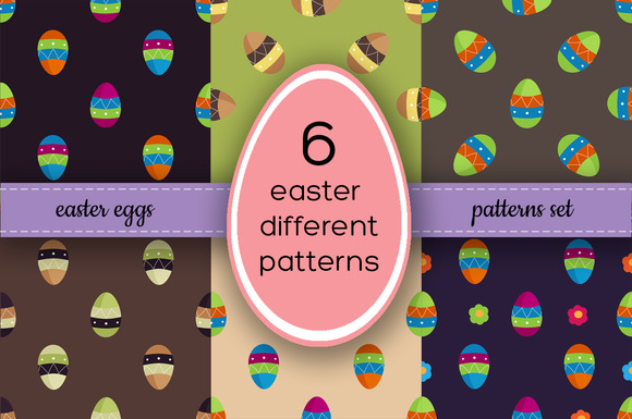 6 Vector Easter Eggs Pattern Set