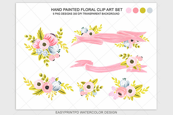 Watercolor Pink Flower Clipart