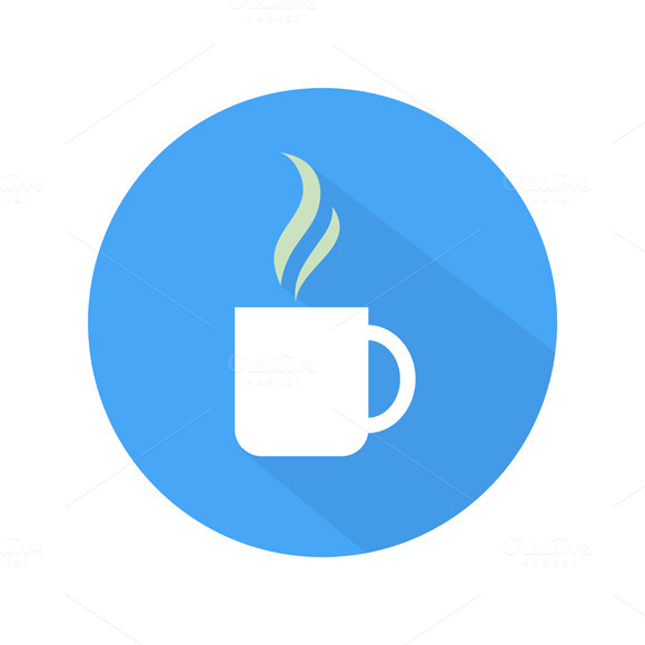 Coffee Cup Flat Icon Coffee Icon Cup on Blue And