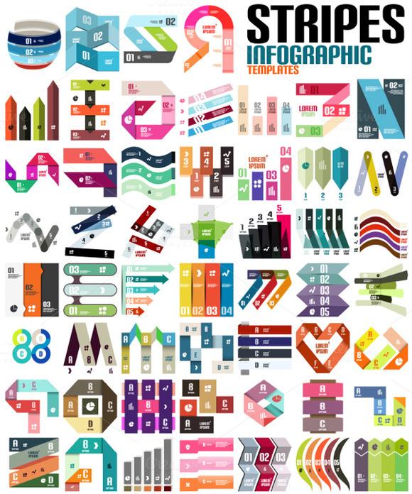 Big Set Of Stripes Infographics