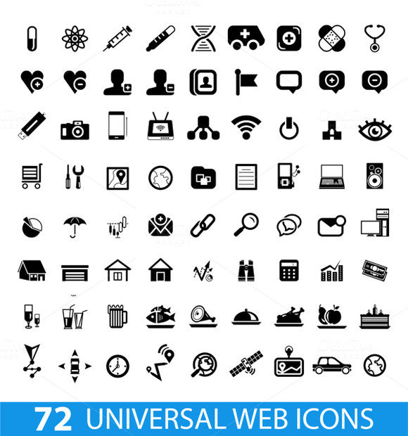 Big Set Of Black Web Vector Icons