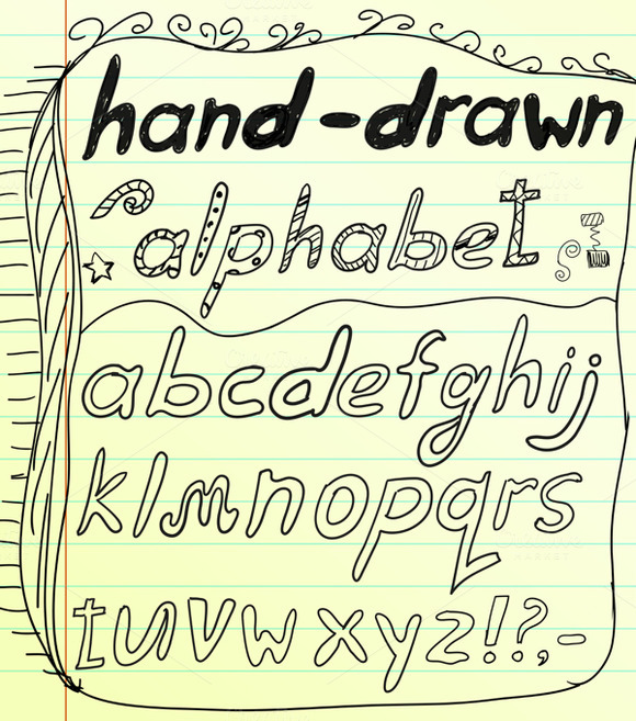 Black Vector Doodle Alphabet