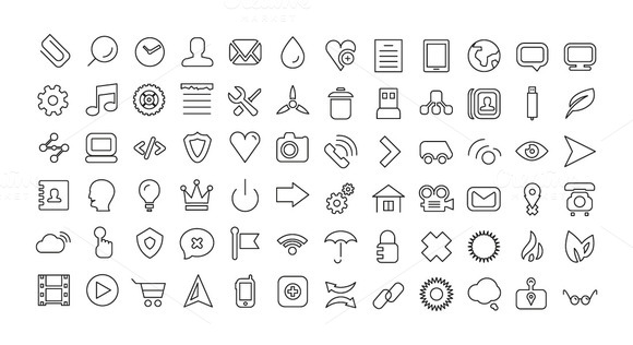 72 Thin Line Vector Icons