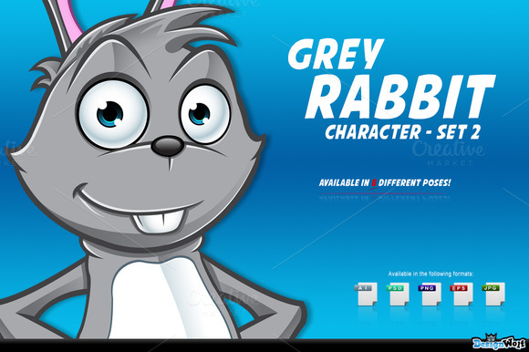 Grey Rabbit Character Set 2