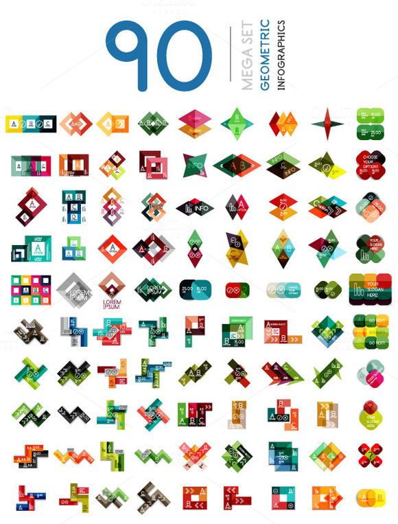 Mega Set Of Geometric Infographics