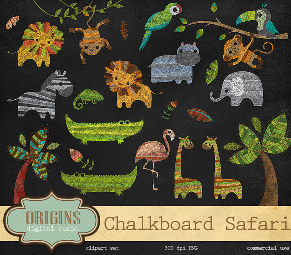 Chalkboard Safari Animals Clipart