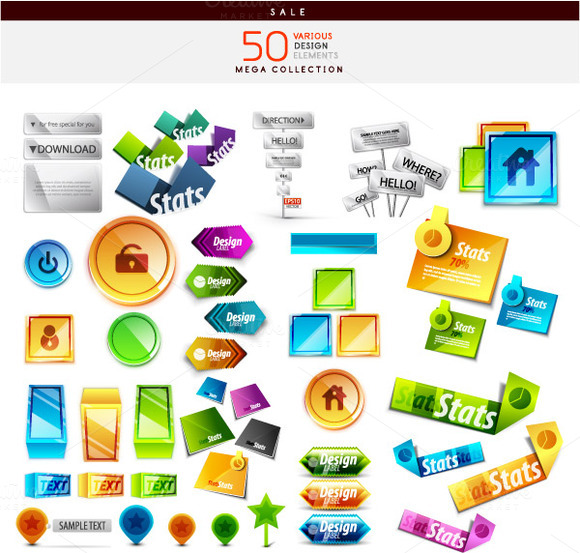 50 Various Design Elements Set