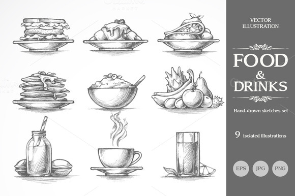 Hand Drawn Food And Drinks Set