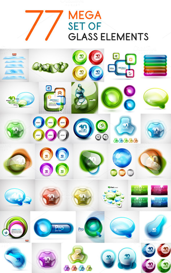 Mega Set Of Glass Elements