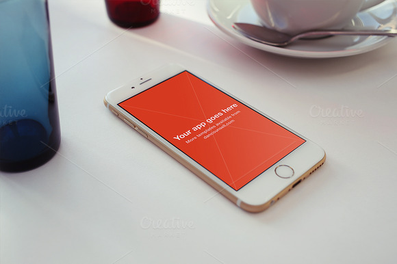 IPhone 6 Mockup On White Cafe Table