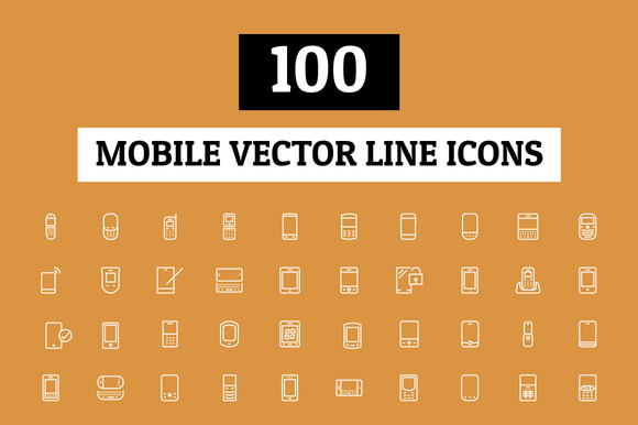 100 Mobile Vector Line Icons