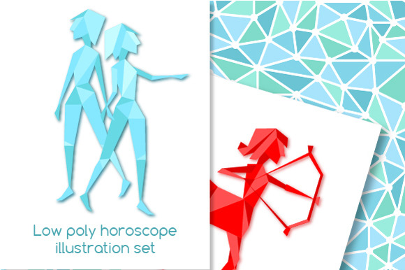 Low Poly Horoscope Illustration Set