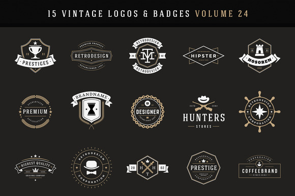 15 Retro Vintage Logotypes Or Badges