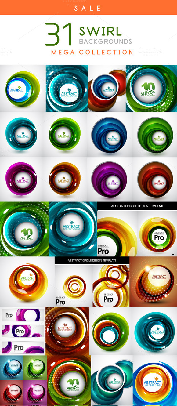 Swirl Backgrounds Mega Set