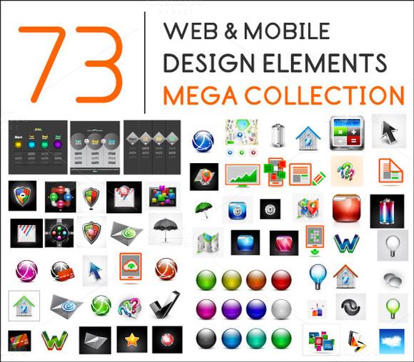 Web Mobile Design Elements Set