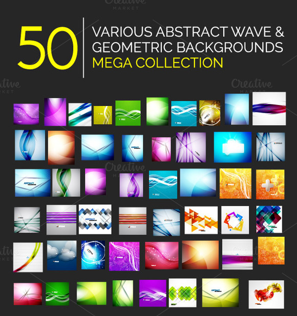 50 Waves Geometrical Backgrounds