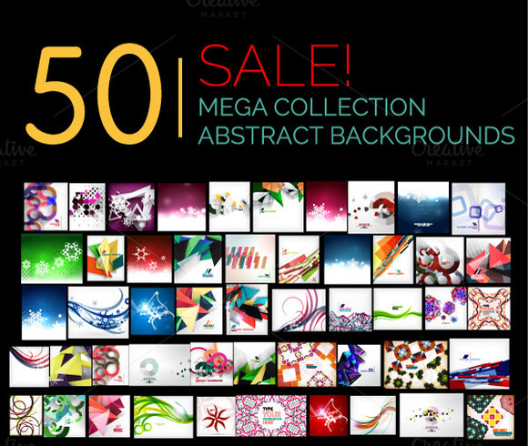 50 Abstract Backgrounds Set