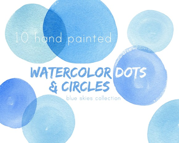 Blue Watercolor Circles Dots